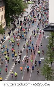 STOCKHOLM SWEDEN 3 June 2017. Stockholm Marathon. Overview from Hornsgatan.