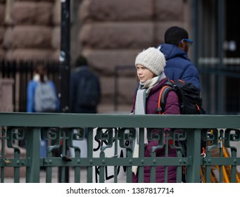 Stockholm, Sweden. 3 May, 2019. 16-year-old Swedish climate activist Greta Thunberg demonstrating in Stockholm on Fridays.