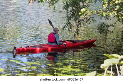 STOCKHOLM SWEDEN 30 July 2017. Woman paddles a canoe in Stockholm.