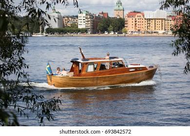 STOCKHOLM SWEDEN 30 July 2017. Beautiful wooden boat.