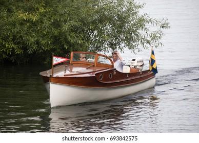 STOCKHOLM SWEDEN 30 July 2017. Beautiful wooden boat