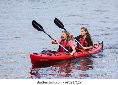 STOCKHOLM SWEDEN 31 July 2017. Two woman paddles a canoe in Stockholm.