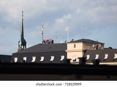 STOCKHOLM SWEDEN 31 July 2017. Organized Hiking on the rooftops in Stockholm city.