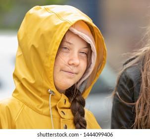 Stockholm, Sweden. 5 July, 2019. 16-year-old Swedish climate activist Greta Thunberg demonstrating in Stockholm on Fridays.
