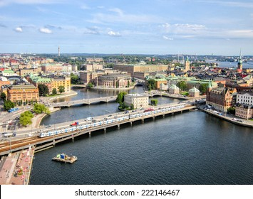 Stockholm, Sweden. Aerial view of the Old Town (Gamla Stan)
