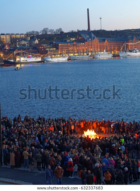 STOCKHOLM, SWEDEN - APR 30, 2017: Celebrating the spring with the Valborg bonfire at Riddarholmen in the evening April 30, 2017 in Stockholm, Sweden