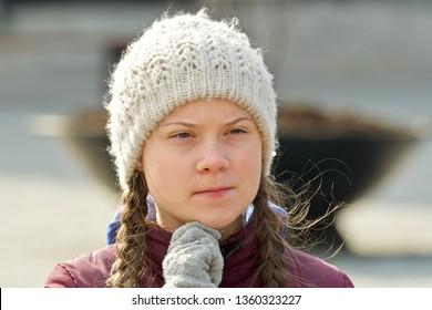 STOCKHOLM, SWEDEN - APRIL 05, 2019: Greta Thunberg climate activist demonstrating on Fridays.