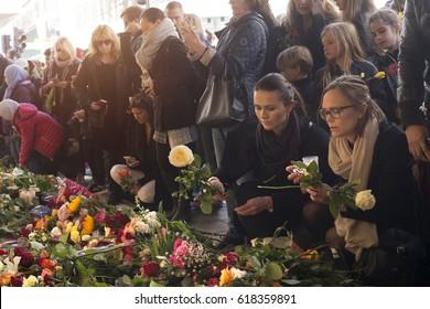 STOCKHOLM, SWEDEN - April 09, 2017:Floral Tributes in Stockholm,  truck attack