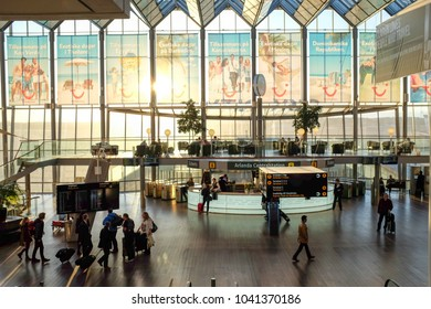 STOCKHOLM, SWEDEN - APRIL 1, 2013:  Interior of Sky City at Arlanda airport outside Stockholm. Sky city connects domestic transportation with international flights.