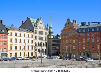 STOCKHOLM, SWEDEN - APRIL 14, 2010: View of the Gamla Stan and Tyska kyrkan or German Church (St. Gertrude's Church)