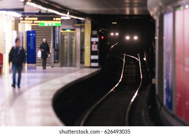 STOCKHOLM, SWEDEN - APRIL 16, 2017: Subway train arriving to Odenplan subway station.