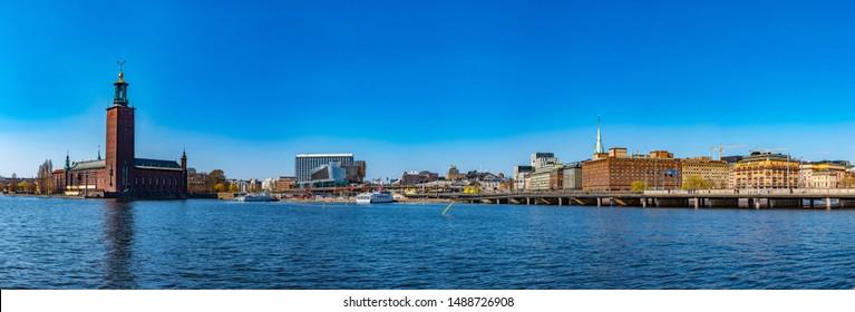 STOCKHOLM, SWEDEN, APRIL 20, 2019: View of the town hall in Stockholm, Sweden