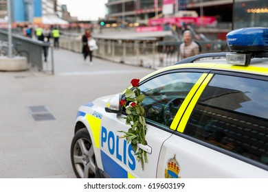 Stockholm, Sweden April 2017 - The Swedes has decorated all parked police cars with flowers to show their gratitude