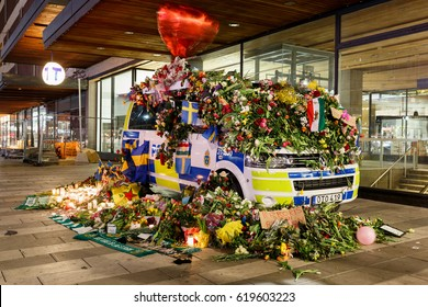 Stockholm, Sweden April 2017 - The Swedish people have shown their love for the police force by covering their cars and vans with flowers