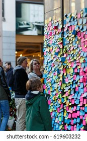 Stockholm, Sweden April 2017 - Swedish crowd write notes to show solidarity with the victims of the terror attack