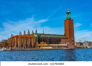 STOCKHOLM, SWEDEN, APRIL 21, 2019: View of the town hall in Stockholm, Sweden