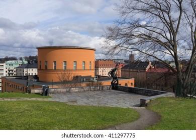 Stockholm, Sweden - April 26, 2016 : External view of Stockholm Public Library in Spring.