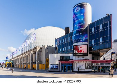 Stockholm, Sweden - April 29 : The Stockholm Globe Arena, was the largest hemispherical building on Earth when it was built. The Eurovision Song contest will be held in May 2016 at here.