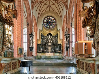 STOCKHOLM, SWEDEN - APRIL 3, 2016: Chancel and altar of Storkyrkan (Great Church). The church was first mentioned in 1279 and according to tradition was built by Birger Jarl, the founder of the city.