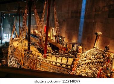 Stockholm, Sweden - April 30 2007: Famous ancient reconstructed Vasa vessel in museem