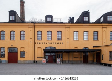 STOCKHOLM, SWEDEN - APRIL 6, 2015: Front view of the old army factory building Torpedvekstaden, now a public museum in Stockholm Sweden April 6, 2015.