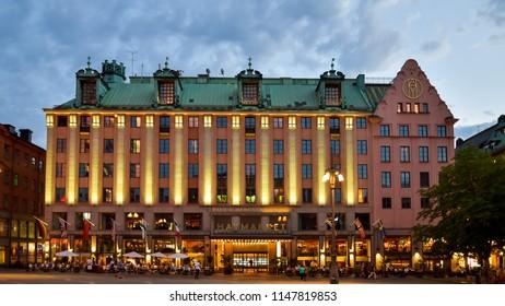 Stockholm, Sweden - Aug. 1, 2018: The Haymarket Hotel on a summer night, Hötorget Square, Stockholm, Sweden.