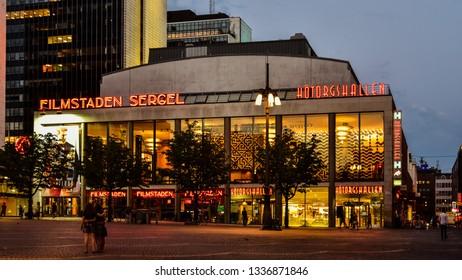 Stockholm, Sweden - Aug. 1, 2018: Filmstaden Sergel Theatre and Hötorgshallen Food Market at night - Stockholm, Sweden
