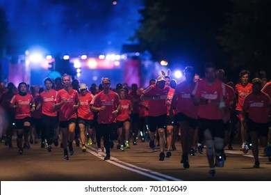 STOCKHOLM, SWEDEN - AUG 19, 2017: Midnight run or Midnattsloppet at the streets of Stockholm. 10 km