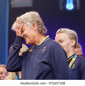 STOCKHOLM, SWEDEN - AUG 21, 2016: Swedish female soccer team captain Pia Sundhage when the swedish olympic athletes are celebrated in Kungstradgarden, Stockholm,Sweden,August 21,2016