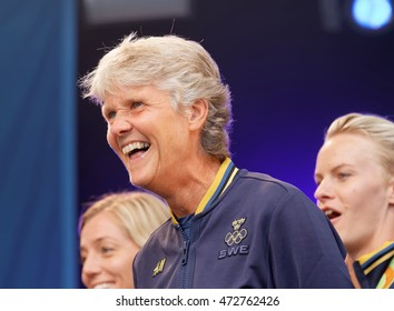 STOCKHOLM, SWEDEN - AUG 21, 2016: Swedish female soccer team captain Pia Sundhage laughing when the swedish olympic athletes are celebrated in Kungstradgarden, Stockholm,Sweden,August 21,2016