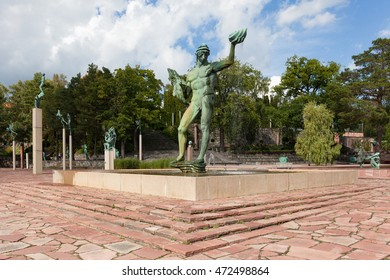Stockholm, Sweden - Aug 22, 2016 : View of the Carl Mille's garden in summer. This garden is an art museum and sculpture garden, located on the island of Lidingo in Stockholm, Sweden