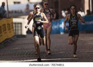 STOCKHOLM, SWEDEN - AUG 26, 2017: Running group lead by Leonie Periault (FRA) at the womens ITU triathlon series. Female Olympic distance.