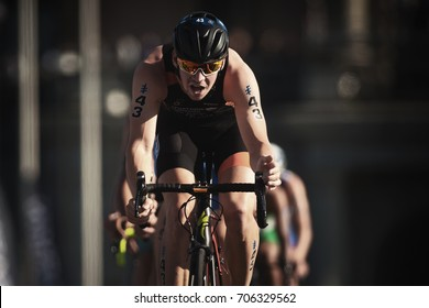 STOCKHOLM, SWEDEN - AUG 26, 2017: Closeup of Jorik Van Egdom (NED) leading a group of triathletes on bike in the ITU triathlon series for men. Olympic distance