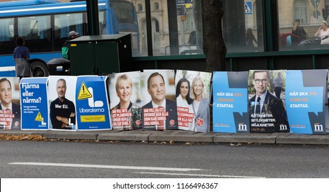 STOCKHOLM, SWEDEN - AUG 26, 2018: Political partys posters trying to get votes during the election campaign. Sweden, August 26, 2018 in central Stockholm, Sweden