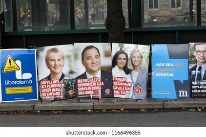 STOCKHOLM, SWEDEN - AUG 27, 2018: Political partys posters trying to get votes during the election campaign. Sweden, August 27, 2018 in central Stockholm, Sweden