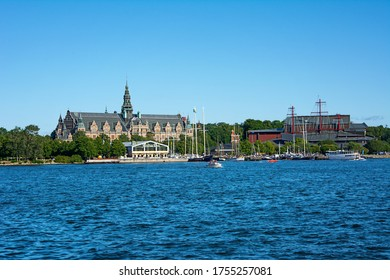 STOCKHOLM, SWEDEN – August 08 2017: Nordic Museum, Vasa Museum and Juniibacken on the island of Djurgarden in Stockholm, Sweden.