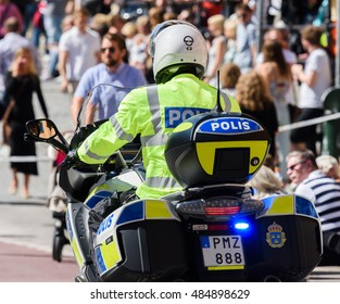 Stockholm, Sweden - August 1, 2015: Swedish motorcycle police at Stockholm Pride Parade 2015