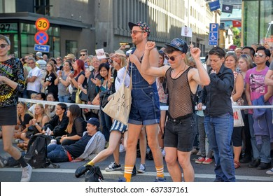 STOCKHOLM, SWEDEN - AUGUST 1, 2015: These people are attending the annual LGBT-event Stockholm Pride parade 2015, in Stockholm, Sweden.