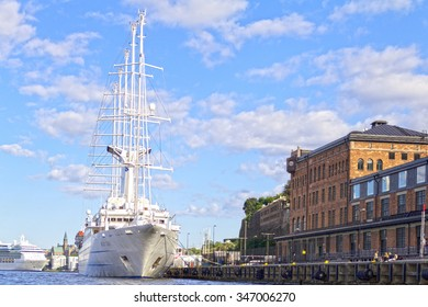 Stockholm, Sweden, August 11 2012: The Wind Surf, one of the largest sailing cruise ships in the world, makes a stop in Stockholm-