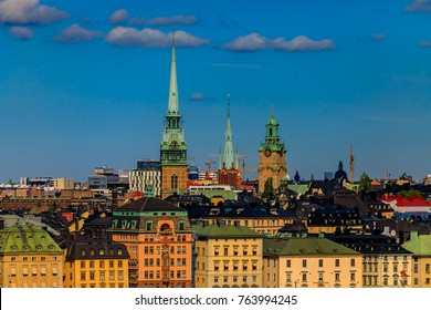 Stockholm, Sweden - August 11, 2017: Traditional gothic buildings in the old town, Gamla Stan in Stockholm, Sweden