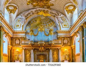 STOCKHOLM, SWEDEN, AUGUST 18, 2016: Interior of Slottskyrkan - the royal chapel in Stockholm, Sweden