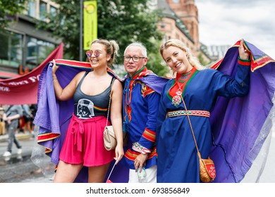 Stockholm Sweden, August 2017, People celebrating in the Pride Parade
