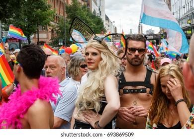 Stockholm Sweden, August 2017, People celebrating in the Pride P