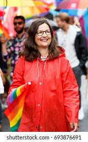 Stockholm Sweden, August 2017, People celebrating in the Pride Parade. This is the famous politician Anna Ekström representing the socialist party