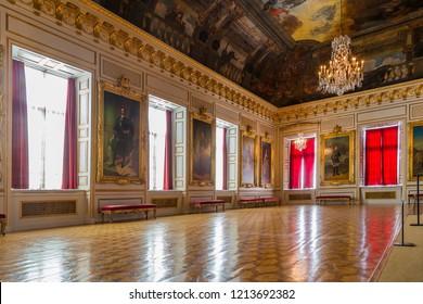 Stockholm, Sweden - August 22 2016: Interior of the Royal Domain of Drottningholm