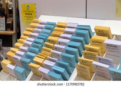 STOCKHOLM, SWEDEN - AUGUST 22, 2018: Polling cards for voting before Swedish general election (scheduled for September 9, 2018).
