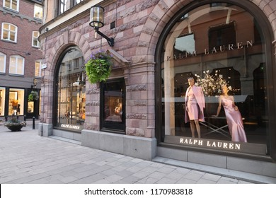 STOCKHOLM, SWEDEN - AUGUST 22, 2018: Ralph Lauren fashion store in Stockholm, Sweden. Ralph Lauren is an American apparel company founded in 1967.