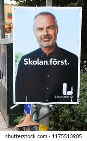 STOCKHOLM, SWEDEN - AUGUST 22, 2018: Liberals (Liberalerna) political poster before Swedish general election (scheduled for September 9, 2018).
