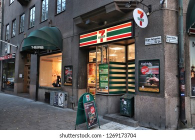 STOCKHOLM, SWEDEN - AUGUST 22, 2018: 7-Eleven convenience store in Stockholm, Sweden. 7-Eleven is world's largest licensor of convenience stores, with more than 46,000 shops.