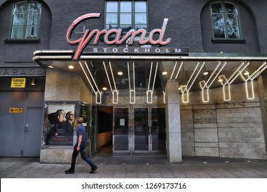 STOCKHOLM, SWEDEN - AUGUST 22, 2018: Grand cinema in Norrmalm district, Stockholm, Sweden. Stockholm is the capital city and most populous area in Sweden.